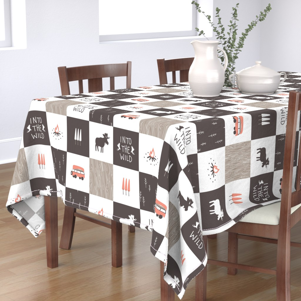 Bantam Rectangular Tablecloth featuring Into the Wild - Cheater Quilt by papercanoefabricshop