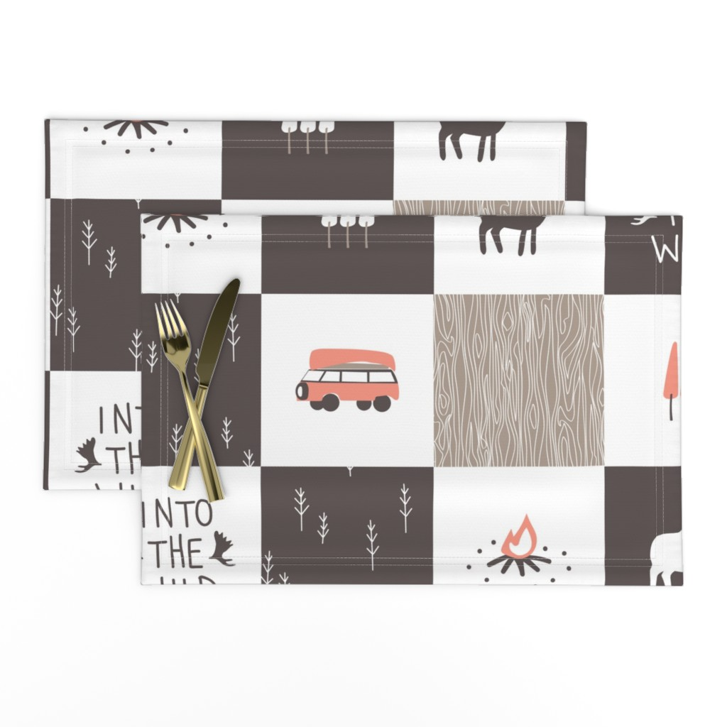 Lamona Cloth Placemats featuring Into the Wild - Cheater Quilt by papercanoefabricshop