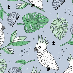 Sweet tropical jungle cockatoo birds illustration summer pattern mint green gray gender neutral
