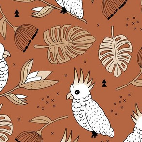 Sweet tropical jungle cockatoo birds illustration summer fall pattern copper boys gender neutral