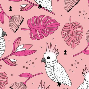 Sweet tropical jungle cockatoo birds illustration summer pattern pink peach