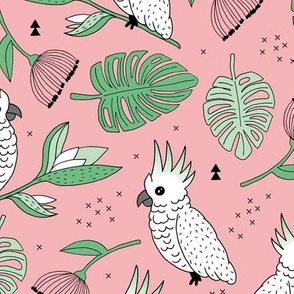 Sweet tropical jungle cockatoo birds illustration summer pattern mint green pink
