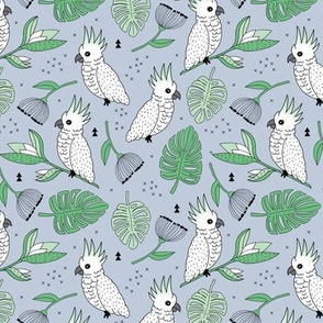 Sweet tropical jungle cockatoo birds illustration summer pattern mint green gray gender neutral MEDIUM