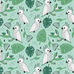 Sweet tropical jungle cockatoo birds illustration summer pattern mint green gender neutral MEDIUM