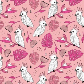 Sweet tropical jungle cockatoo birds illustration summer pattern pink peach MEDIUM