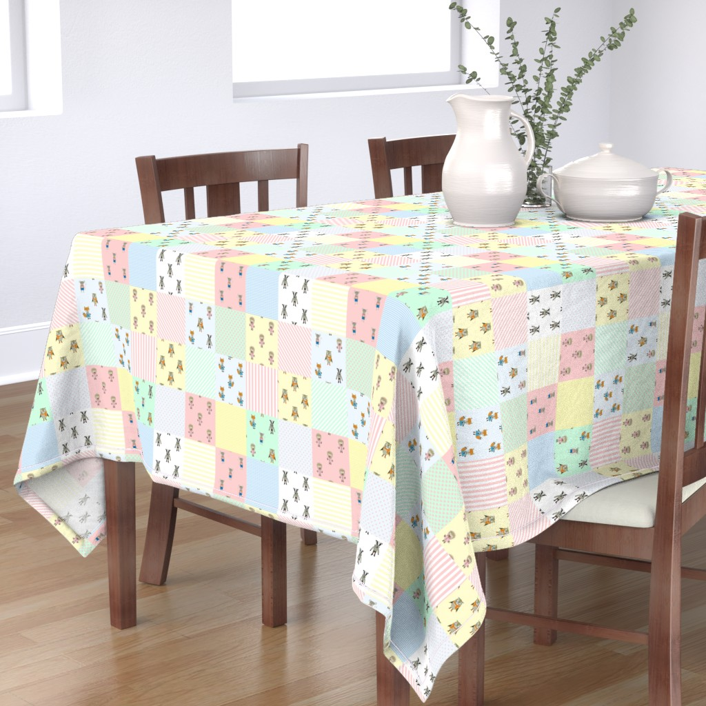 Bantam Rectangular Tablecloth featuring Forest Friends Woodland Animal Babies Cheater Quilt by paper_and_frill