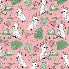 Sweet tropical jungle cockatoo birds illustration summer pattern mint green pink MEDIUM