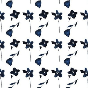 Pretty navy blue flowers || watercolor floral pattern