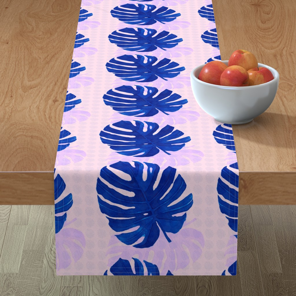Minorca Table Runner featuring Watercolor Monstera leaves 11 by marta_caldas