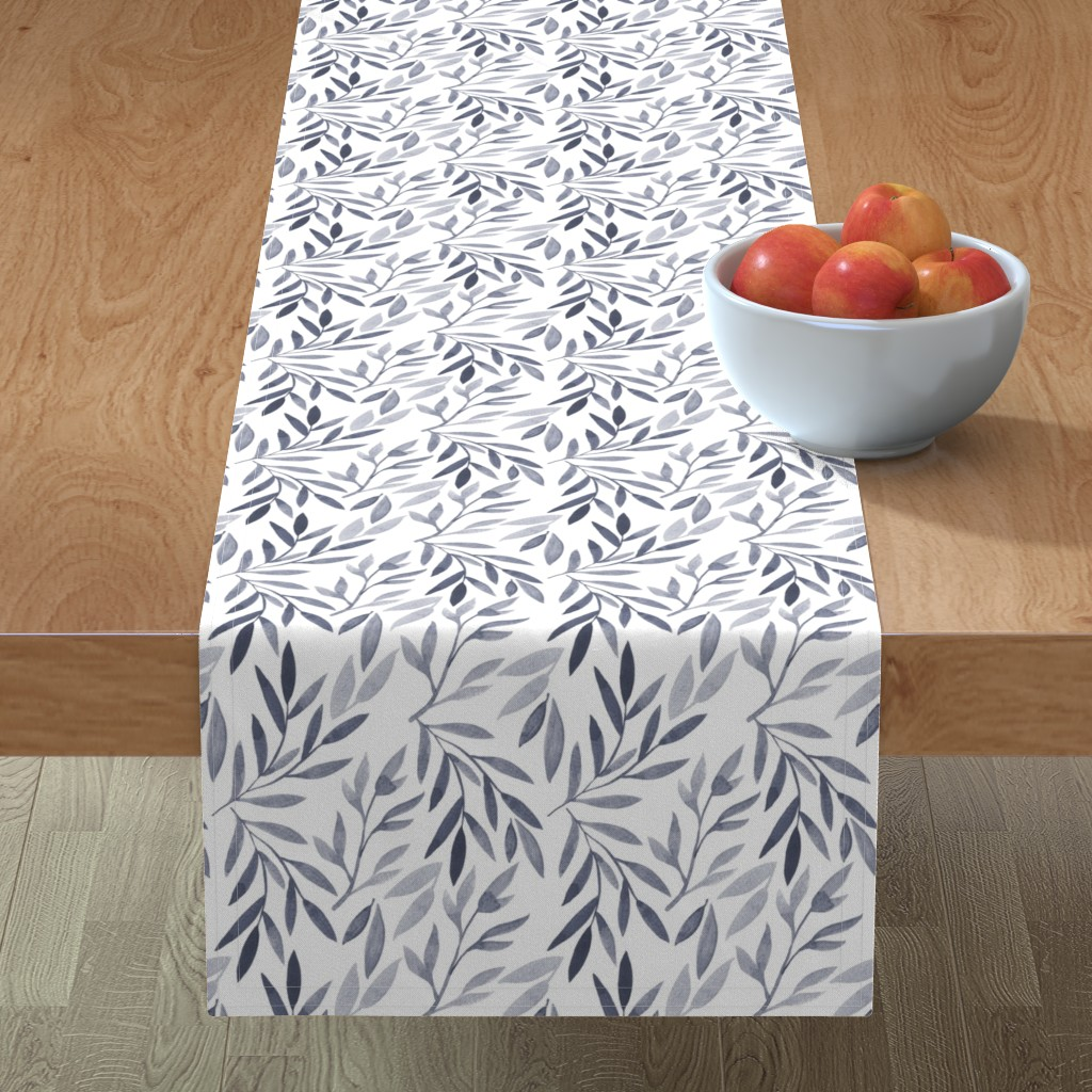 Minorca Table Runner featuring grey watercolor leaves by yashroom