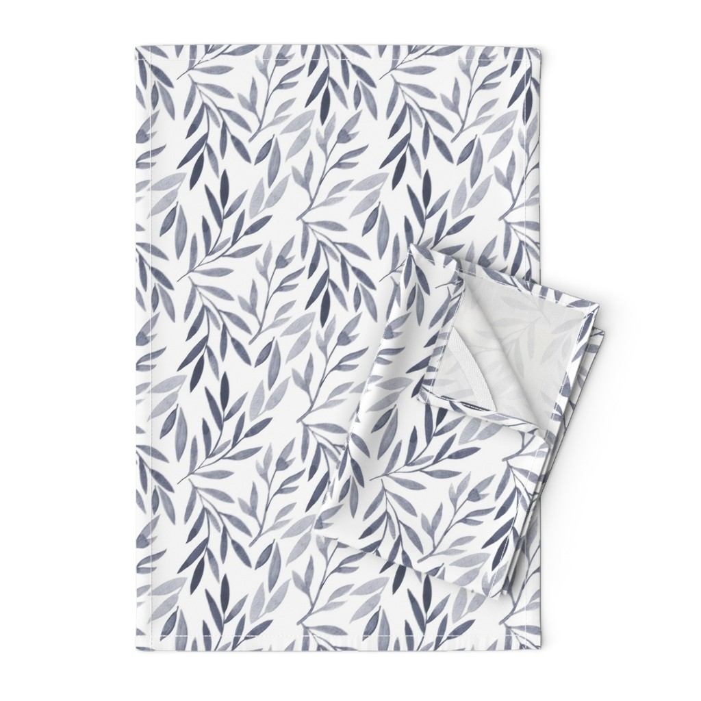Orpington Tea Towels featuring grey watercolor leaves by yashroom