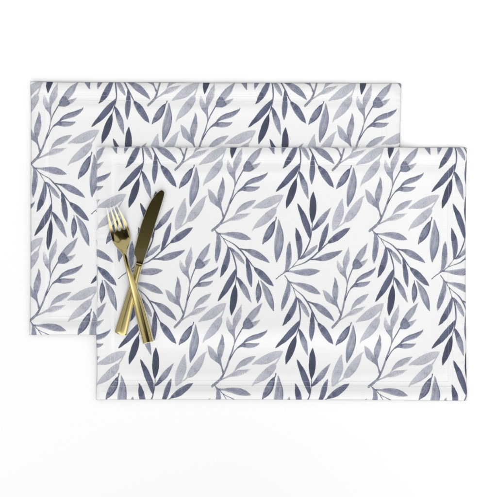 Lamona Cloth Placemats featuring grey watercolor leaves by yashroom