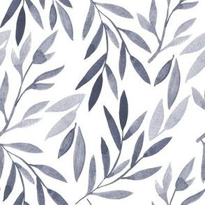 grey watercolor leaves
