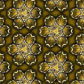 snowflake hexagons #2 - gold satin