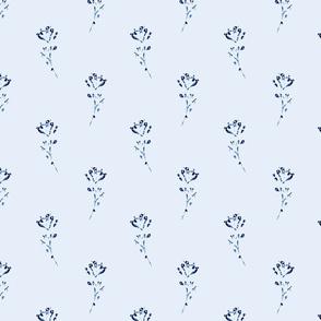 Cyanotype flower stem white blue
