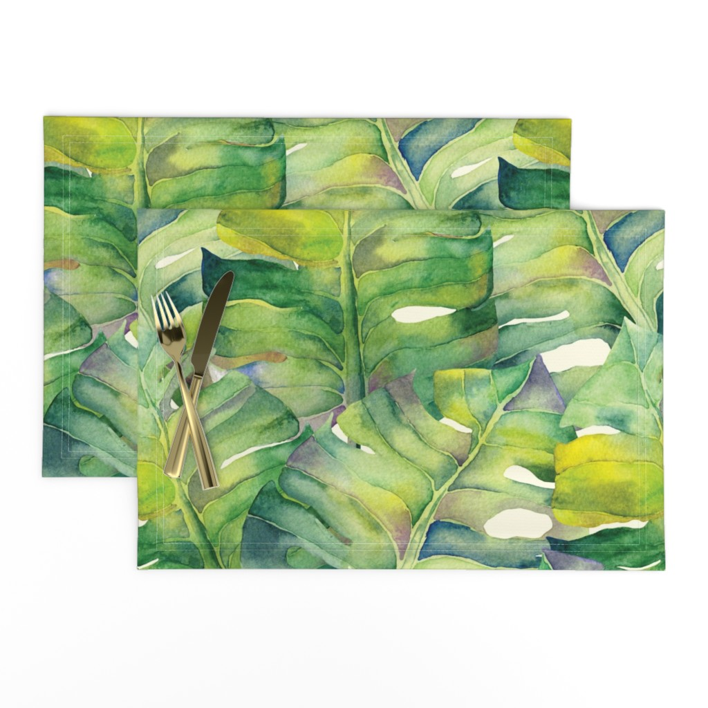 Lamona Cloth Placemats featuring Monstera leaves in green by exotic_vector