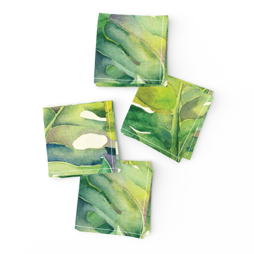 Frizzle Cocktail Napkins featuring Monstera leaves in green by exotic_vector