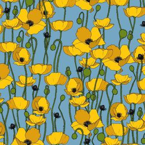 Mustard poppy repeat dino blue - medium