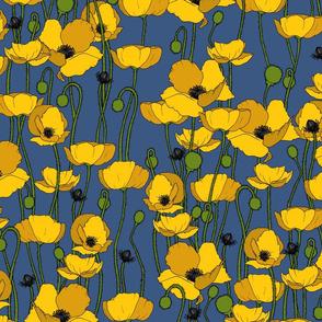 Mustard poppy repeat mid blue - medium