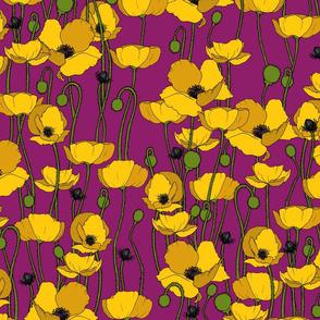 Mustard poppy repeat magenta - medium