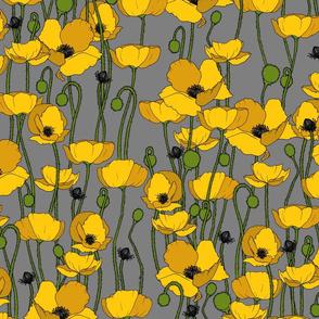 Mustard poppy repeat grey - medium
