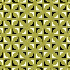 Modernist Geometric Pattern Black White And Green