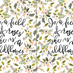 2 per yard of minky // Blush Sprigs and Blooms In A Field of Roses She Is A Wildflower
