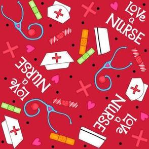 Love a Nurse Red White