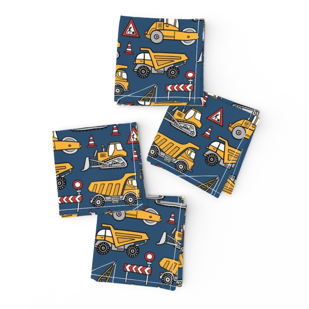 Frizzle Cocktail Napkins featuring Construction cars - dark blue by mirabelleprint
