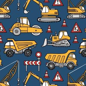 Construction cars - dark blue