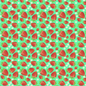 Strawberries and Blossoms Vintage Green BG