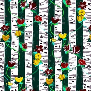 Birch Trees And Floral Vines On Emerald - small