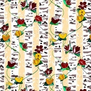Birch Trees And Floral Vines On Cream - Small