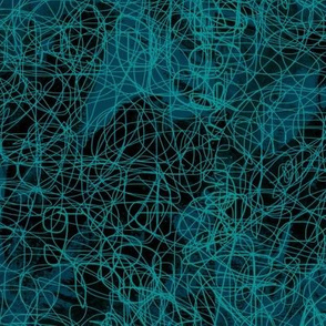 Dark Turquoise abstract hand drawn sketch pattern
