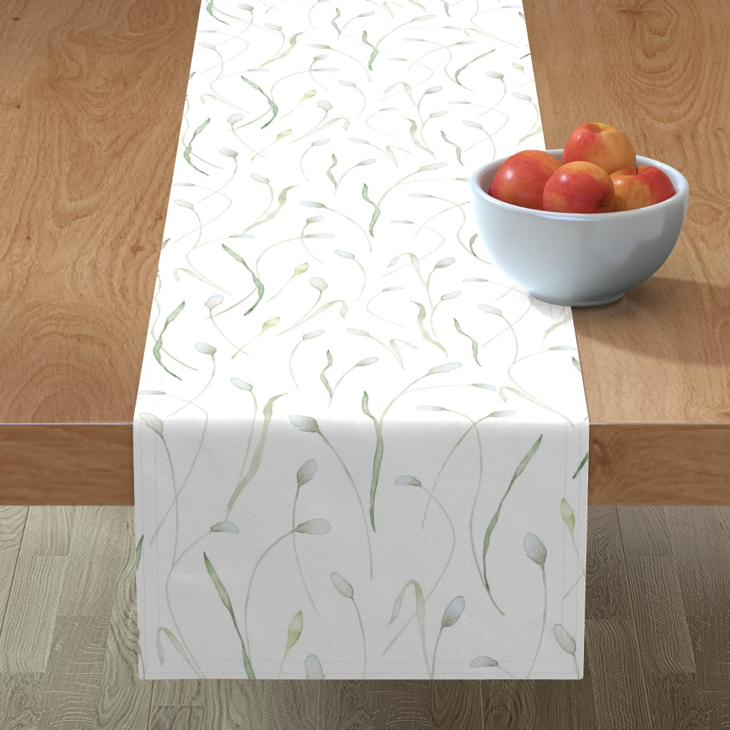 Minorca Table Runner featuring Hearts and Stars pattern on yellow watercolor background by lolahstudio