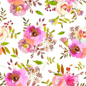 """14"""" Spring Colors Hand drawn roses and flowers little bouquets Pattern of tender pink lush flowers on white"""