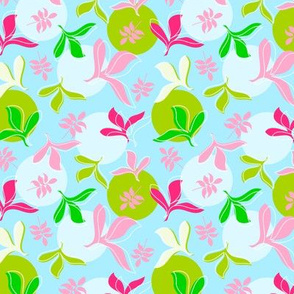 Leaves in Pink and Green on Blue Background with Large Lime Green and Light Blue Dots
