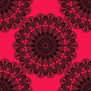 abstract black sunflowers on red
