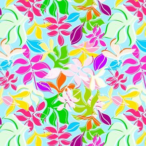 Leaves in Multi Colour on Blue Background