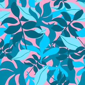 Leaves in Blue and Aqua on Pink Background