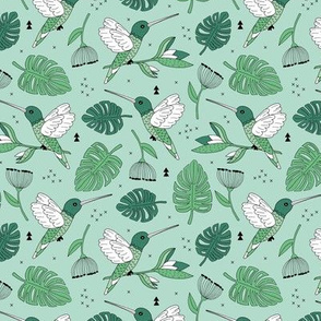 Hummingbird tropical garden jungle pattern with monstera leaves and paradise bird flowers mint green summer spring MEDIUM