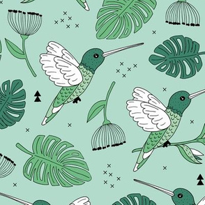 Hummingbird tropical garden jungle pattern with monstera leaves and paradise bird flowers mint green summer spring