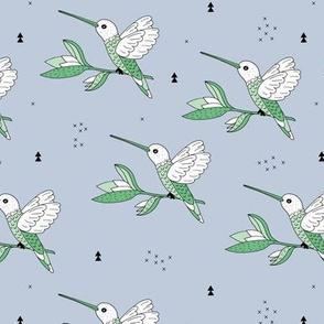 Sweet hummingbird jungle garden branch blue green boys
