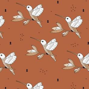 Sweet hummingbird jungle garden branch gender neutral copper fall