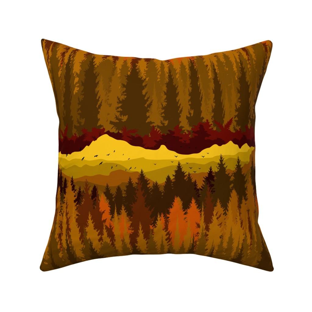 Catalan Throw Pillow featuring PNW Mountain Landscape in Autumn Sunset Orange by elliottdesignfactory