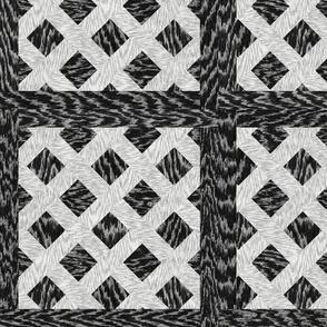 Cerused Wood  Square Diagonal Weave Black White