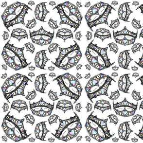 queen of hearts silver crown tiara scattered pattern white background