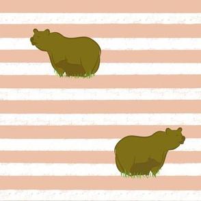 Pastel Peach stripe, mama and baby bear