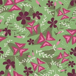 Purple Shamrock Floral Layered / Green