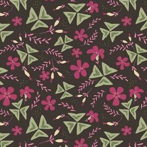 Purple Shamrock Floral Ditsy / Chocolate